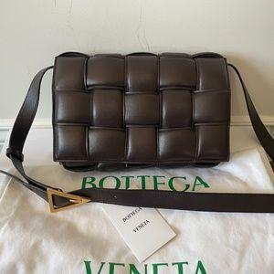 SOLD Bottega Veneta PADDED CASSETTE BAG dark brown